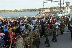 General Service Unit officers took over the Likoni ferry crossing channel in Mombasa on March ...jpg